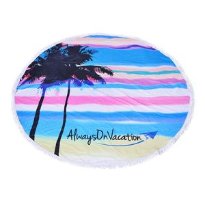 Always On Vacation Printed 90% Polyester and 10% Cotton Luxury Round 2 People Beach Mat, Blanket, or Towel with Fringe (59 In)