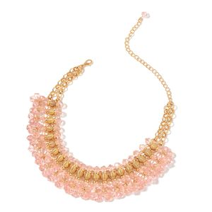 Pink Glass Goldtone Charm Choker or Bib Necklace (13-19 in)