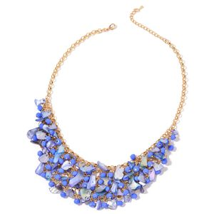 Blue Glass, Blue Shell Goldtone Bib Necklace (20 in)