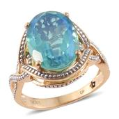 GP Peacock Quartz, Kanchanaburi Blue Sapphire 14K YG Over Sterling Silver Ring (Size 9.0) TGW 9.87 cts.