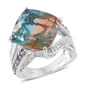 Aqua Terra Costa Quartz, Tanzanite, Cambodian Zircon Platinum Over Sterling Silver Ring (Size 7.0) TGW 18.94 cts.