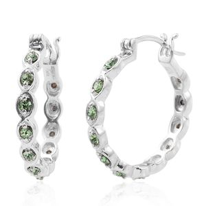 KARIS Collection - Platinum Bond Brass Hoop Earrings Made with SWAROVSKI Green Crystal TGW 0.65 cts.