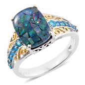 Australian Mosaic Opal, Malgache Neon Apatite 14K YG and Platinum Over Sterling Silver Ring (Size 7.0) TGW 4.70 cts.