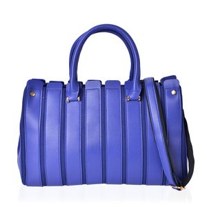 Blue Faux Leather Stripe Pattern Satchel Bag (14.2x5x9.2 in)