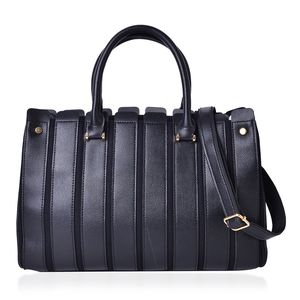 Black Faux Leather Stripe Pattern Satchel Bag (14.2x5x9.2 in)