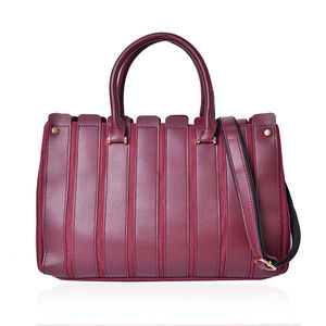 Burgundy Faux Leather and Canvas Striped Satchel with Removable Strap (46 in) (14x5x9 in)