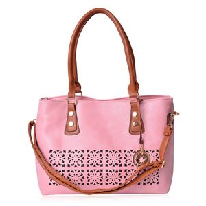 Pink and Brown Faux Leather Laser Cut Tote Bag with Removable Shoulder Strap (43 In) and Maple Leaf Key Charm (14.5x5.5x11 in)