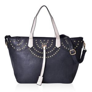 Black Faux Leather Tassel Studded Tote Bag with Removable Shoulder Strap (50 In) on Standing Studs (12x5.5x9 in)