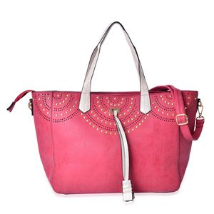 Red Faux Leather Tassel Studded Tote Bag with Removeable Shoulder Strap (50 In) on Standing Studs (12x5.5x9 in)