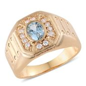 Sky Blue Topaz, Simulated Diamond ION Plated YG Stainless Steel Men's Ring (Size 11.0) TGW 2.38 cts.