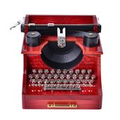 Red and Black Piano Typewriter Music Box (5.7x5.9x4.33 in)