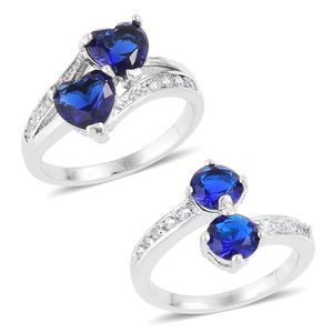 Set of 2 Simulated Blue Sapphire, Simulated Diamond Silvertone Rings (Size 8.75) TGW 0.20 cts.