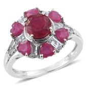 Niassa Ruby, White Topaz Platinum Over Sterling Silver Floral Ring (Size 5.0) TGW 5.00 cts.