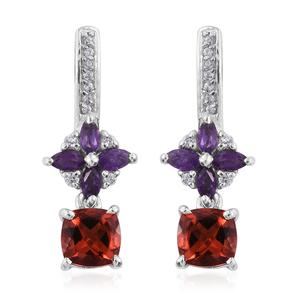 Red Andesine, Amethyst, Cambodian Zircon Platinum Over Sterling Silver Earrings TGW 2.36 cts.