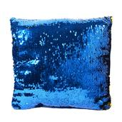 Home Textiles Gold and Blue Square Sequn Pillow