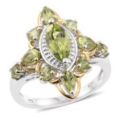 Hebei Peridot 14K YG and Platinum Over Sterling Silver Ring (Size 6.0) TGW 2.98 cts.