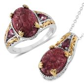 Norwegian Thulite, Orissa Rhodolite Garnet 14K YG and Platinum Over Sterling Silver Ring (Size 9) and Pendant With Chain (20 in) TGW 15.75 cts.