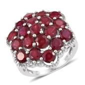 Niassa Ruby Platinum Over Sterling Silver Cluster Ring (Size 6.0) TGW 12.73 cts.