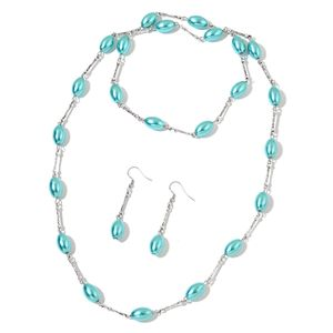 Simulated Mint Pearl, Glass Beads Stainless Steel Earrings and Necklace (38 in)