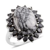 Austrian Pinolith, Thai Black Spinel Platinum Over Sterling Silver Ring (Size 8.0) TGW 17.30 cts.