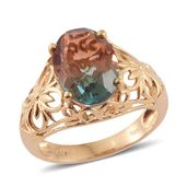 Aqua Terra Costa Quartz 14K YG Over Sterling Silver Ring (Size 6.0) TGW 7.00 cts.