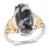 Austrian Pinolith 14K YG and Platinum Over Sterling Silver Ring (Size 10.0) TGW 9.80 cts.