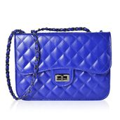 Blue Quilted Pattern Crossbody Bag (10.3x3x7.2 in)