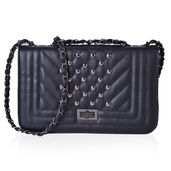 Black Quilted Pattern Crossbody Bag (10.3x3.2x6.2 in)