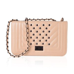 Beige Quilted Studded Saddle Bag (10x3x5.5 in)