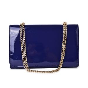 Blue Crossbody Bag with Magntic Closure and Goldtone Chain Strap (12.5x4.3x8.3 in)