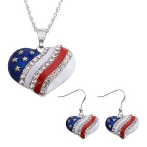 Austrian Crystal Enamel American Flag Earrings and Pendant With Stainless Steel Chain (24 in)