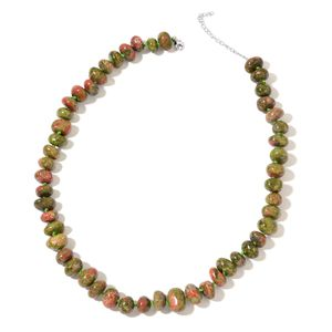 Unakite Beads Sterling Silver Necklace (18 in) TGW 407.50 cts.