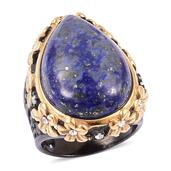 Lapis Lazuli, White Austrian Crystal ION Plated YG, Black Stainless Steel Ring (Size 7.0) TGW 21.00 cts.