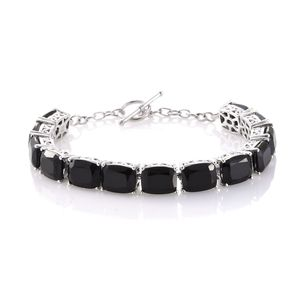 Thai Black Spinel Platinum Over Sterling Silver Toggle Clasp Bracelet (7.50 In) TGW 57.22 cts.