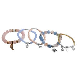 One Day TLV Multi Gemstone Dualtone Set of 5 Bracelet (Stretchable) TGW 343.50 cts.