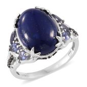 Lapis Lazuli, Catalina Iolite, Thai Black Spinel Platinum Over Sterling Silver Ring (Size 10.0) TGW 10.76 cts.