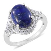 Lapis Lazuli, Cambodian Zircon Platinum Over Sterling Silver Ring (Size 10.0) TGW 7.21 cts.