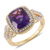 Tony's Collector Show Lusaka Amethyst, Cambodian Zircon 14K YG Over Sterling Silver Ring (Size 10.0) TGW 5.71 cts.