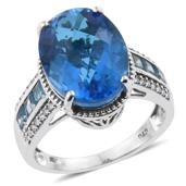 Caribbean Quartz, Electric Blue Topaz, Cambodian Zircon Platinum Over Sterling Silver Ring (Size 6.0) TGW 11.80 cts.