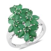 Kagem Zambian Emerald Platinum Over Sterling Silver Floral Ring (Size 6.0) TGW 4.82 cts.