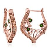 Imperial Topaz, Russian Diopside 14K RG Over Sterling Silver Latch Back Earrings TGW 1.97 cts.