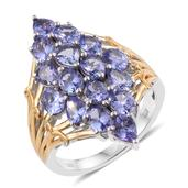 Tanzanite 14K YG and Platinum Over Sterling Silver Elongated Cluster Ring (Size 8.0) TGW 5.34 cts.