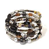 South African Tigers Eye, Hematite, Glass Beads Silvertone Wrap Bracelet (6.50 In) TGW 140.00 cts.