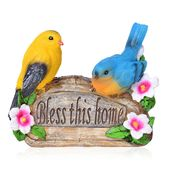 Yellow and Blue Resin Bird Couple Decoration (AAA Battery Not Included)