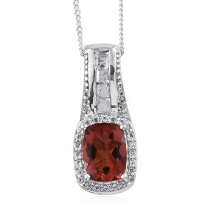 Red Andesine, White Topaz Platinum Over Sterling Silver Pendant With Chain (20 in) TGW 1.76 cts.