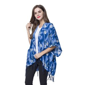 Blue and White Floral Pattern 100% Viscose Kimono with Fringes (One Size)