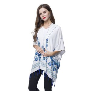 White and Blue Flower Pattern 100% Viscose Poncho (39.37x53.15 in)