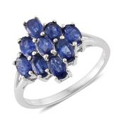 Masoala Sapphire Platinum Over Sterling Silver Ring (Size 6.0) TGW 3.28 cts.
