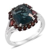 Belgian Teal Fluorite, Mozambique Garnet Platinum Over Sterling Silver Split Ring (Size 5.0) TGW 7.76 cts.
