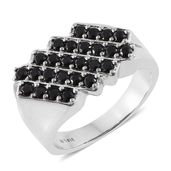 Dan's Collector's 25th Anniversary Collection Thai Black Spinel Stainless Steel Men's Ring (Size 14.0) TGW 2.08 cts.